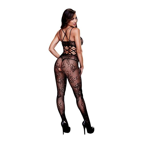 Baci - Racerback Crotchless Lace Bodystocking One Size