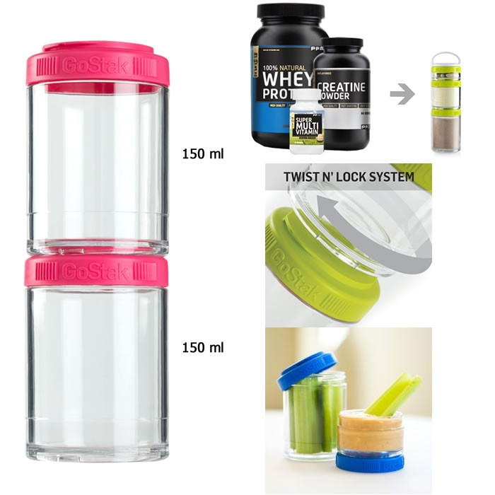 BlenderBottle Storage GoStak, Roosa (2 x 150 ml)