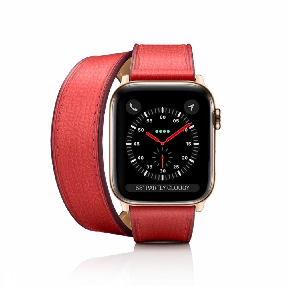 Casetify 2-in-1 Italian Leather Double Tour Watchband 38mm/40mm Red