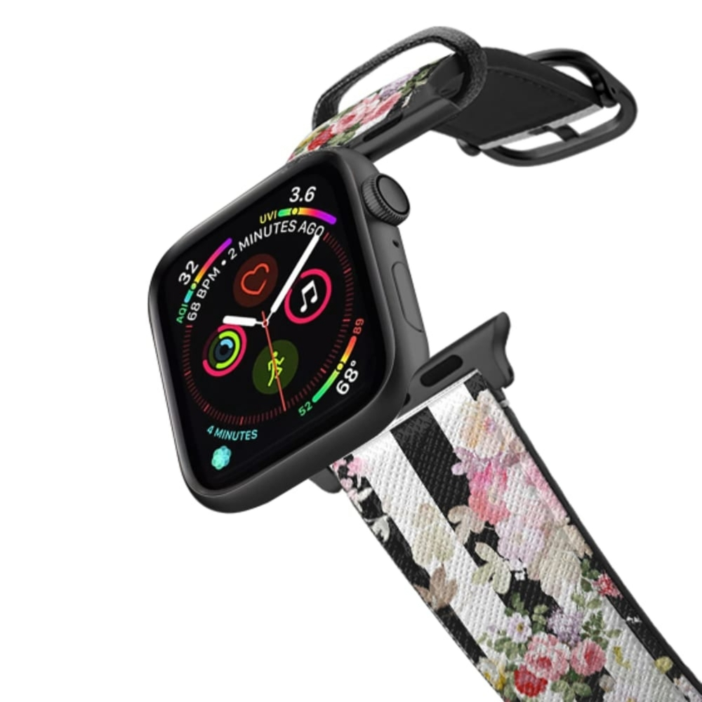 Casetify Saffiano Watchband V4 38mm/40mm Black and white stripe bright pink roses flowers pattern-Space Gray