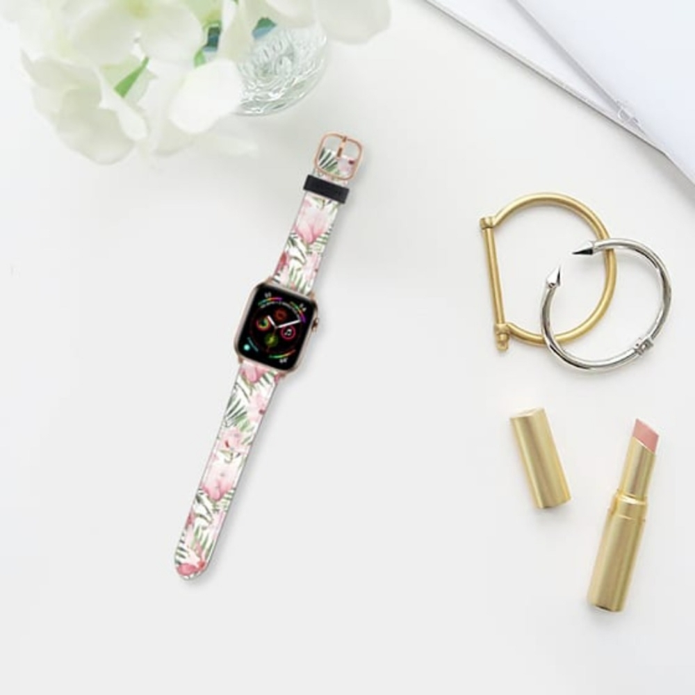 Casetify Saffiano Watchband V4 38mm/40mm Blush pink lavender green watercolor tropical floral-Gold