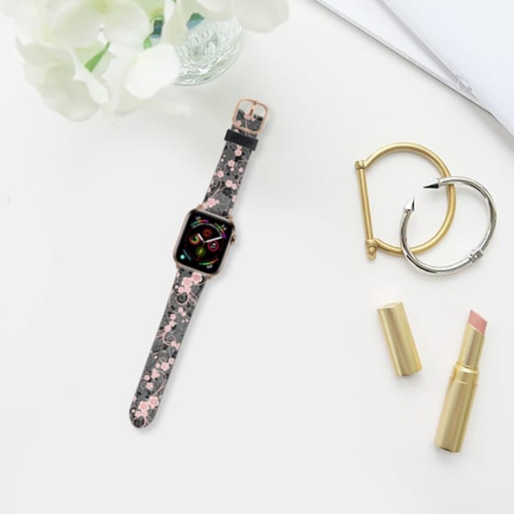 Casetify Saffiano Watchband V4 38mm/40mm Coral pink black abstract floral pattern-Gold