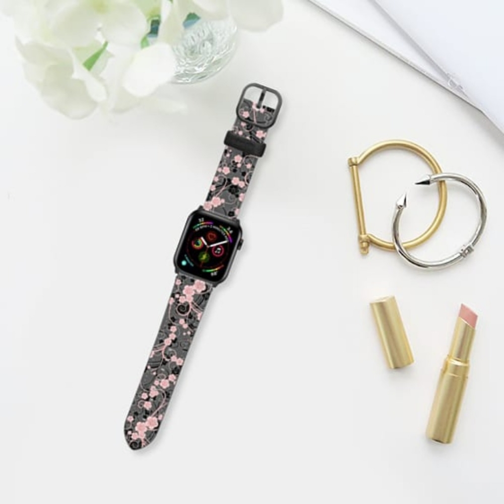 Casetify Saffiano Watchband V4 42mm/44mm Coral pink black abstract floral pattern-Space Gray