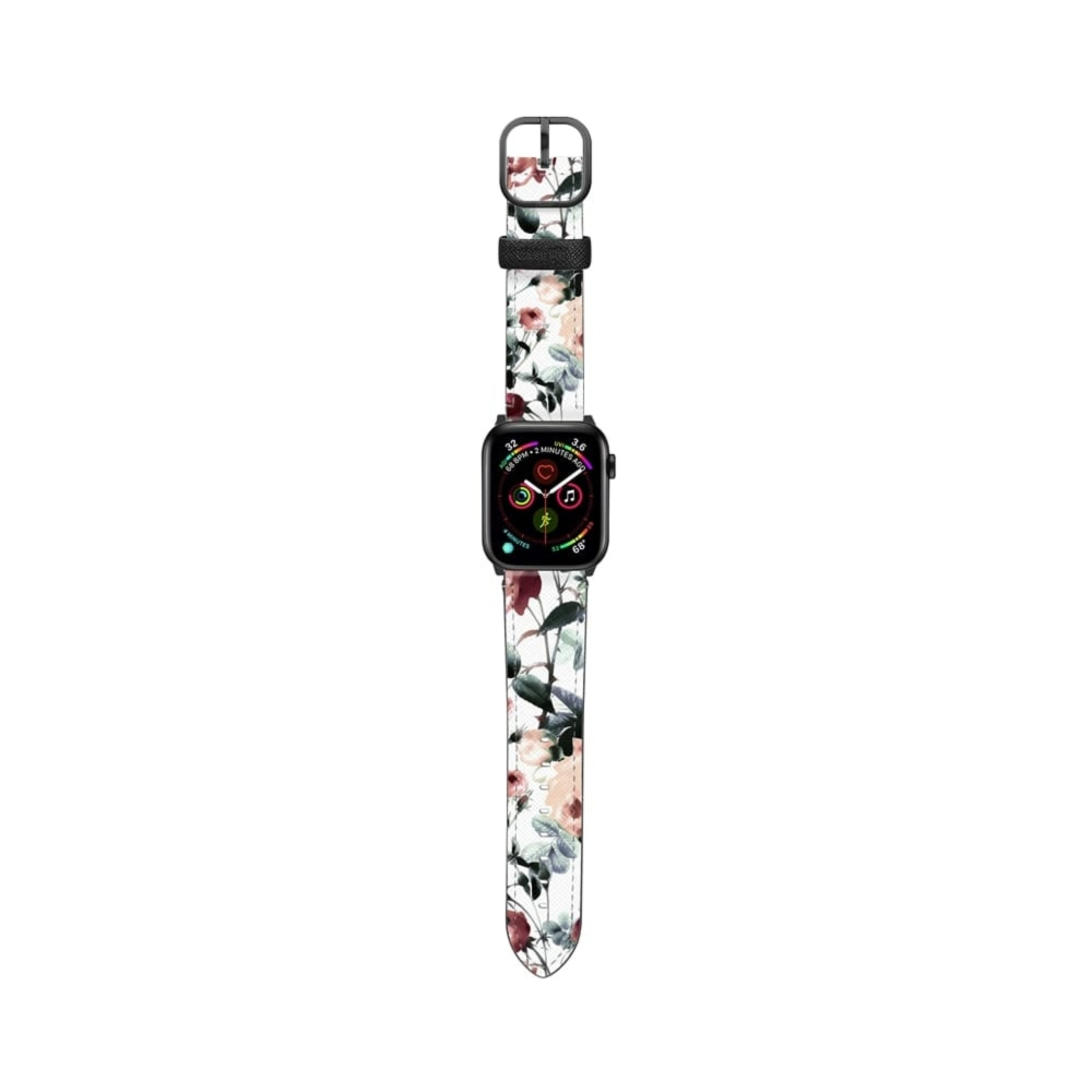 Casetify Saffiano Watchband V4 42mm/44mm Romantic pastel roses-Space Gray