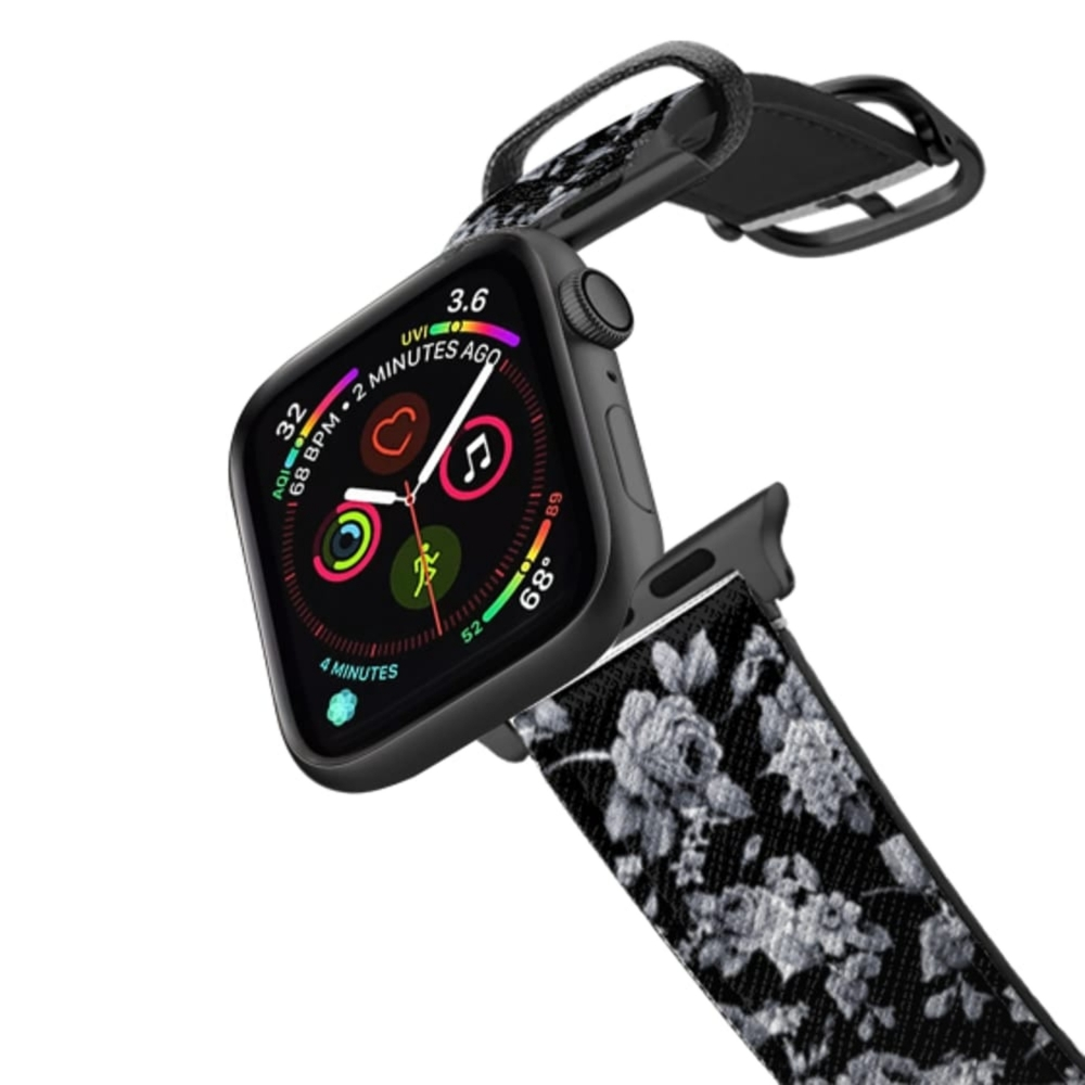Casetify Saffiano Watchband V4 42mm/44mm VINTAGE FLOWERS IN BLACK - APPLE WATCH-Space Gray