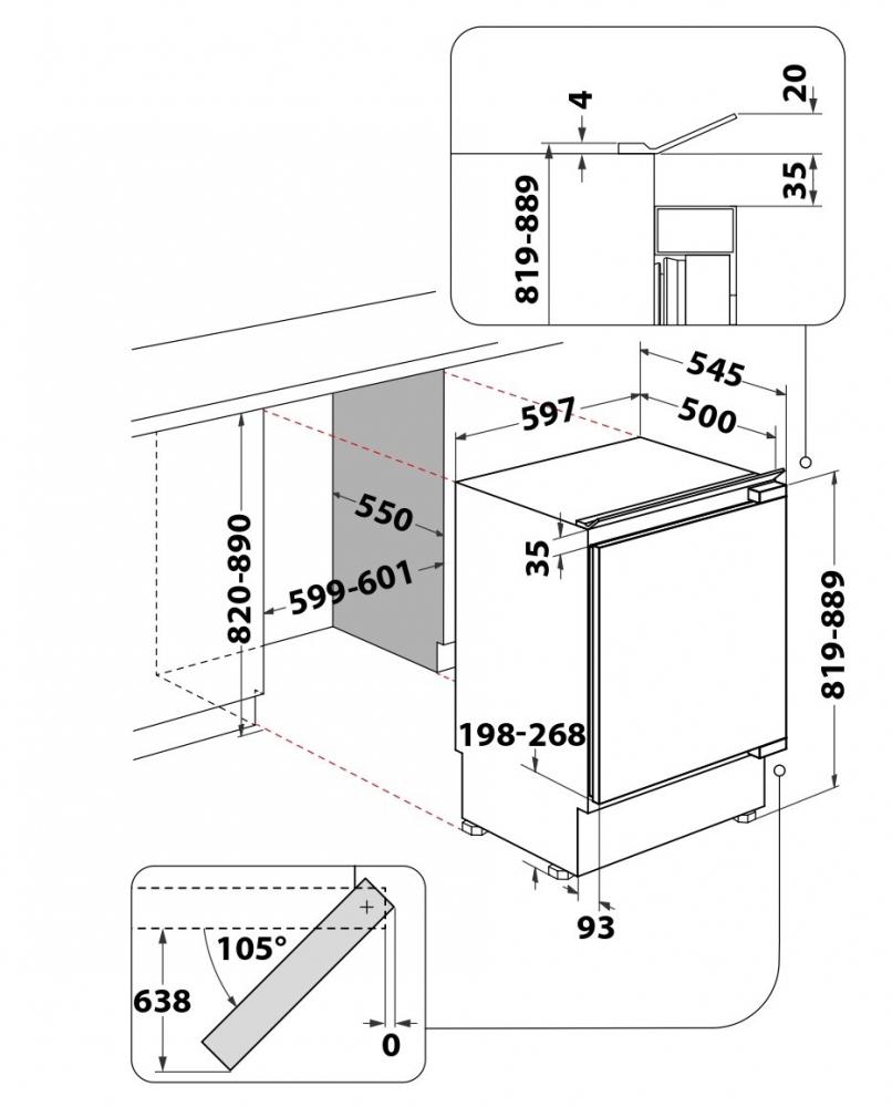 Integreeritav jahekülmik Whirlpool ARG585