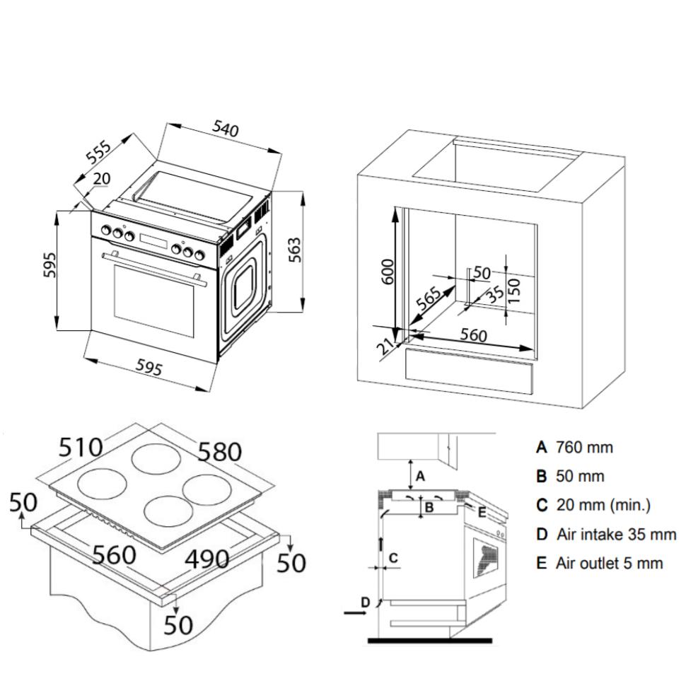 Integreeritav komplekt ahi + plaat Bomann EHBC7930sw