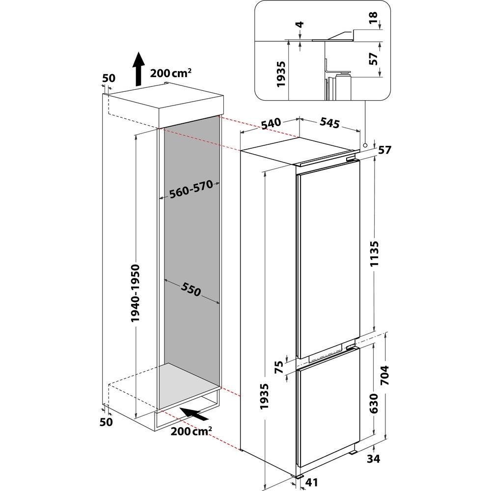 Integreeritav külmik Whirlpool WHC20T352