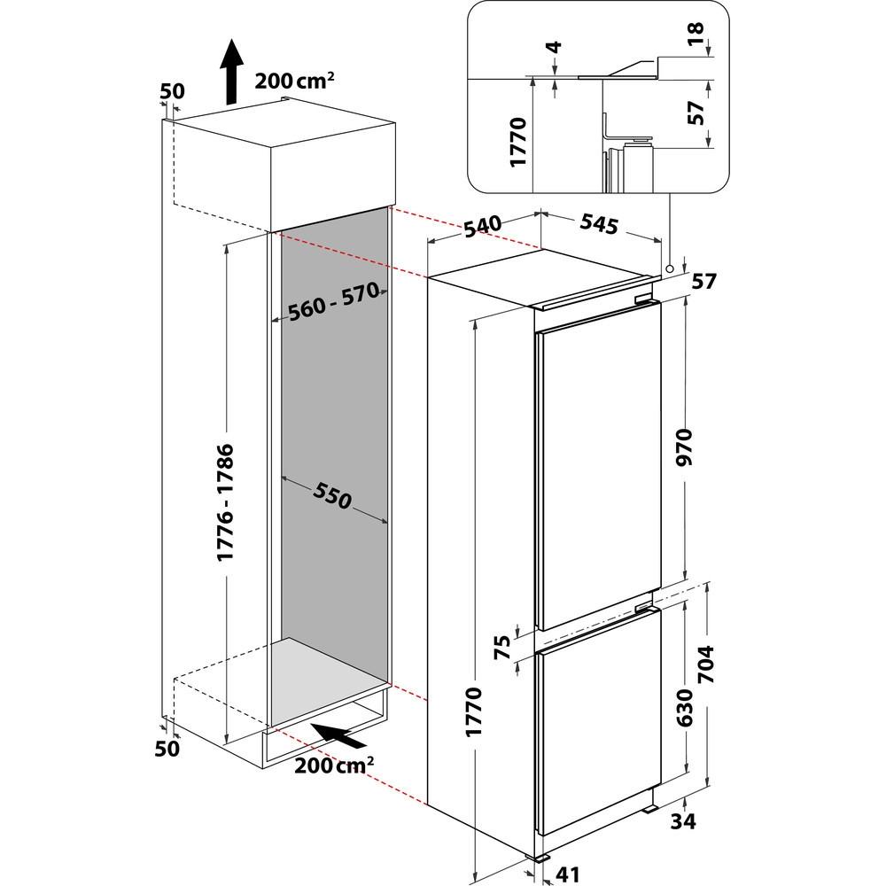 Integreeritav külmik Whirlpool WHC18T341
