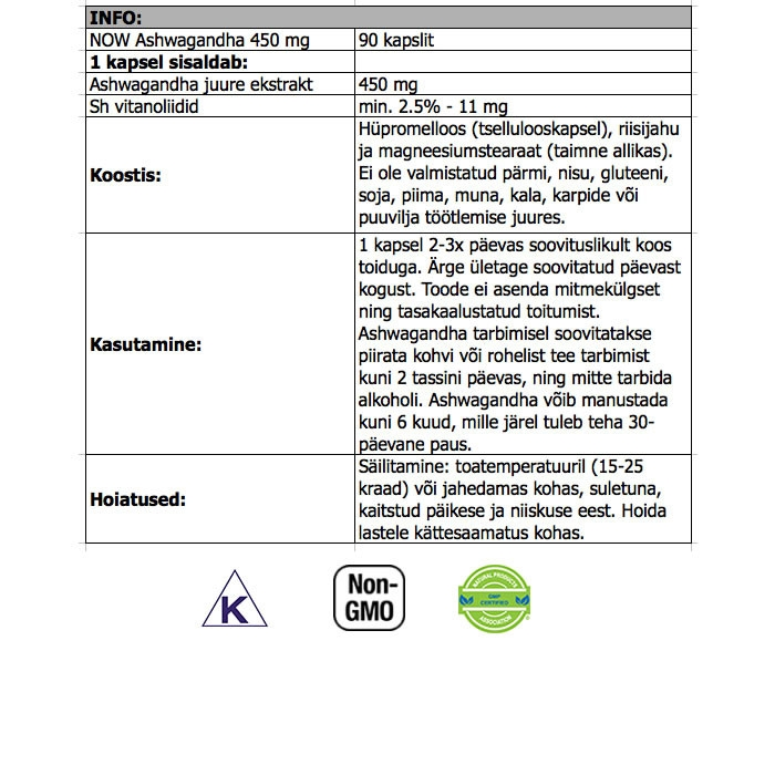 NOW Ashwagandha Extract 450 mg kapslid (90 tk)