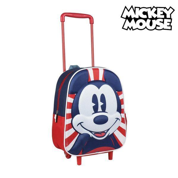 Ratastega 3D-kooliseljakott Mickey Mouse Punane