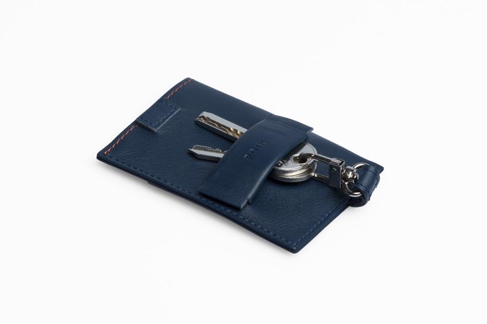 ROIK Cards & Keys Blue Navy tumesinine nahast rahakott