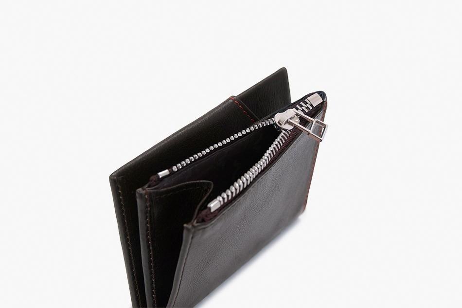 ROIK Zip Coin tumepruun nahast rahakott
