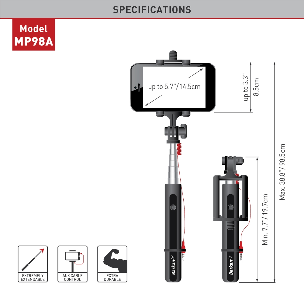 Selfie stick Barkan MP98A