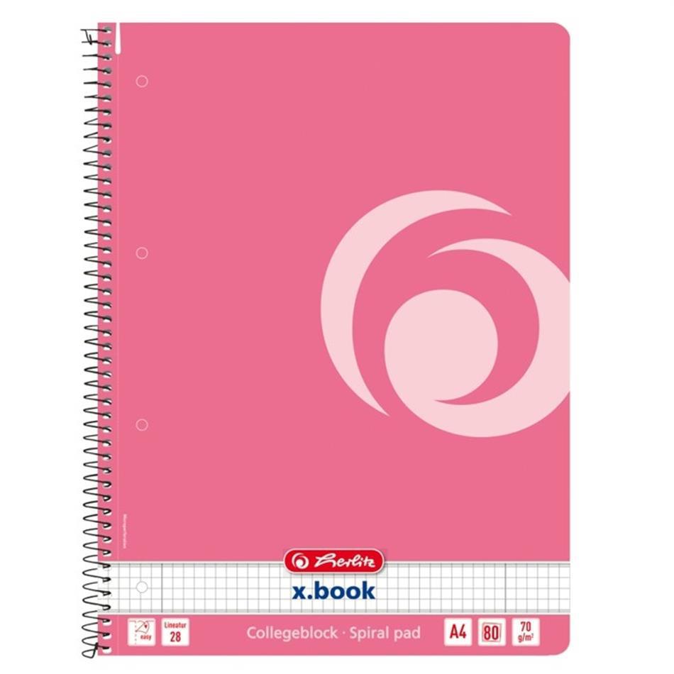 Spiraalkaustik A4/80 ruuduline Color Block indoneesia roosa, 5 tükki pakis