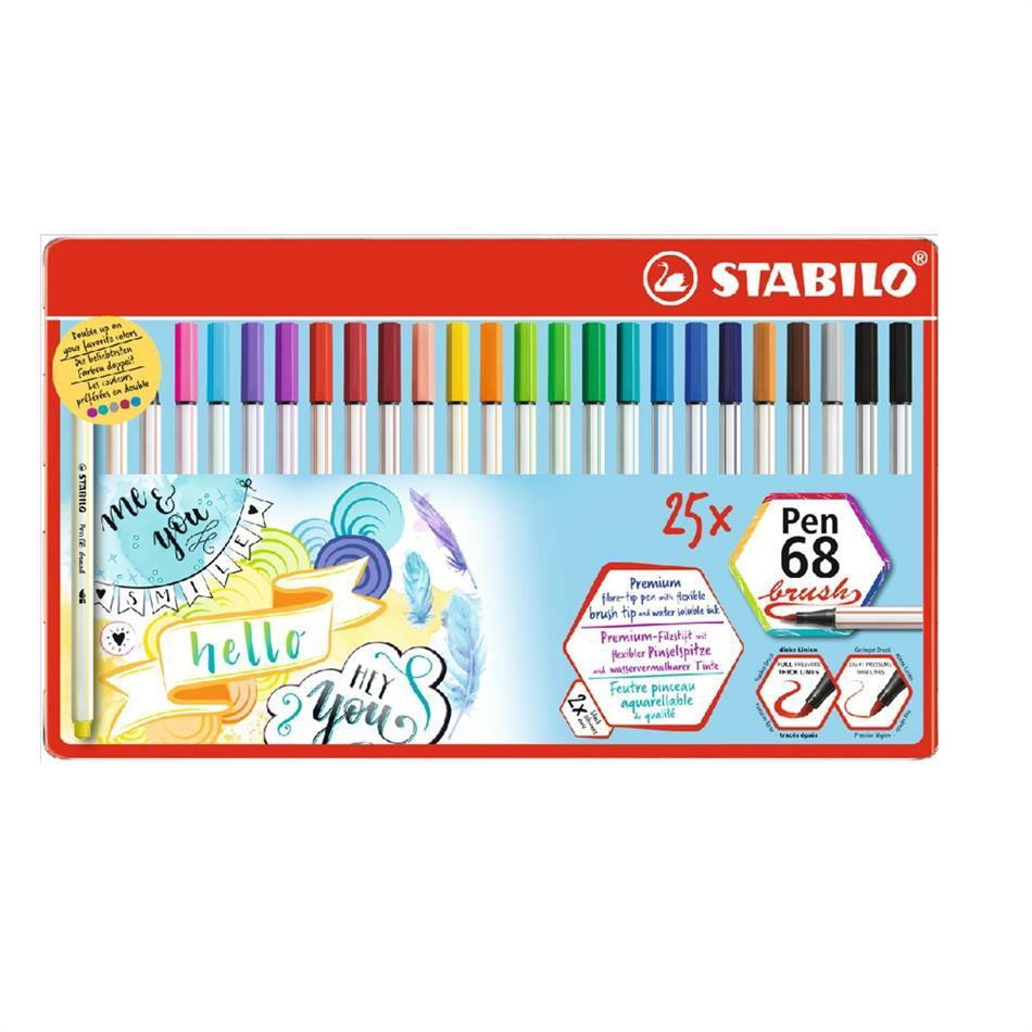 Tindipliiatsid Stabilo Pen 68 - pintselotsaga, 25 värvi