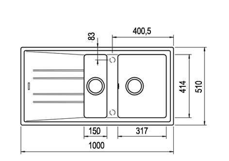 Valamu Teka Stone 60B TG must graniit