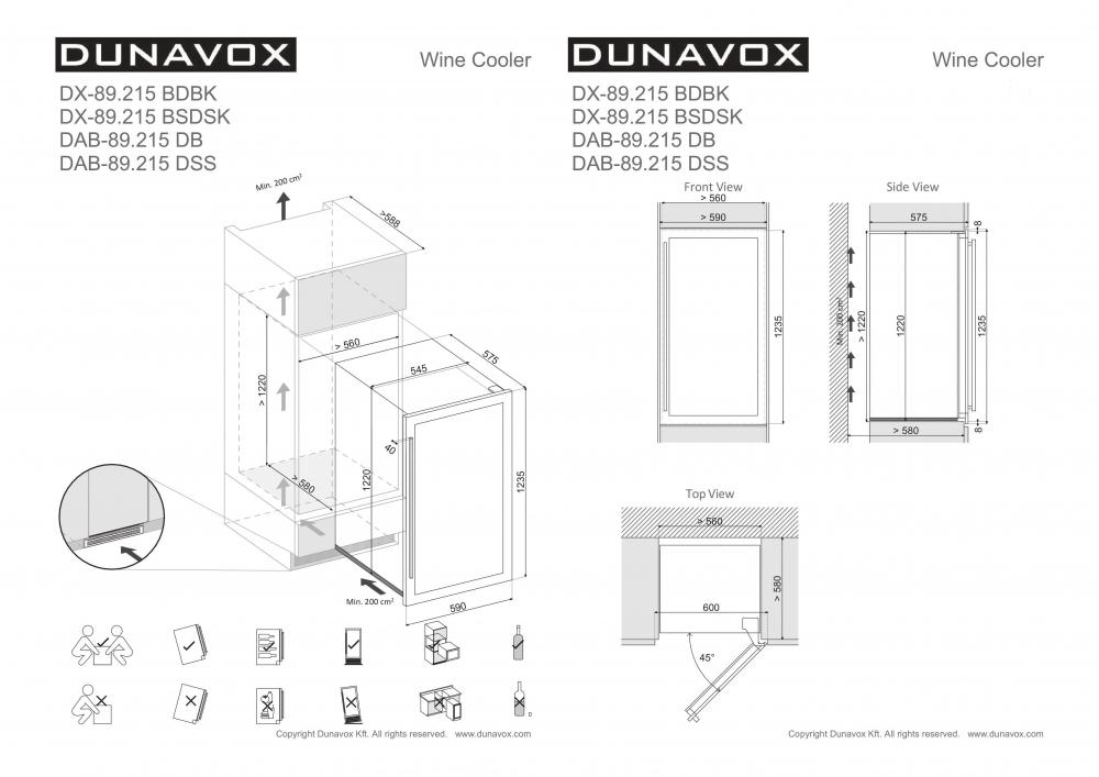 Integreeritav veinikülmik Dunavox DAB89.215DW