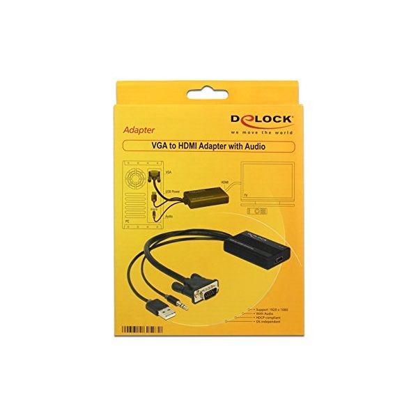 VGA-HDMI Adapter Heliga DELOCK 62597 3-pin USB A