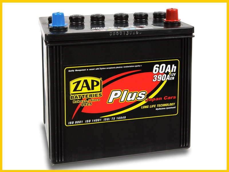 Zap (- +)  60 A-h  Plus Japan Cars